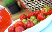 Strawberries, Gooseberry, Basket And Compote