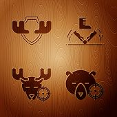 Set Hunt On Bear With Crosshairs, Moose Horns On Shield, Hunt On Moose With Crosshairs And Trap Hunt poster
