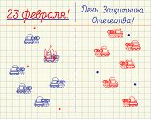 23 February Defender Of Fatherland Day. Tank Battle In Notebook Childrens Game. Army Holiday In Rus poster