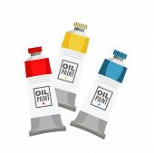Oil Paints Tubes Flat Vector Illustration. Dying Pigments For Painting. Drawing Tools, Artistic Item poster