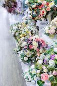 Bouquet Artificial Roses With Leaves, Interior Design Smooth Rows Of Bouquets In A Flower Shop, Deco poster