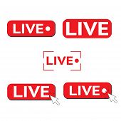Red Symbol Set Button Of Live Streaming, Broadcasting, Online Stream. Lower Third Template For Tv, S poster