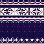Winter, Christmas Fair Isle Style Traditional Knitwear Vector Seamless Pattern, Retro Scottish Knit  poster