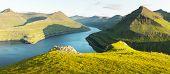 Panorama over majestic sunny fjords of Funningur, Eysturoy island, Faroe Islands. Landscape photogra poster