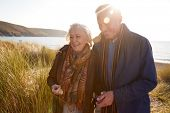 Loving Active Senior Couple Arm In Arm Walking Through Sand Dunes poster