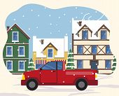 Car Riding On Streets Of Old Town In Winter. Snowing Weather In City With Vintage Buildings Exterior poster