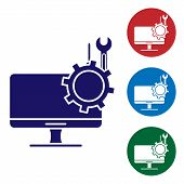 Blue Computer Monitor With Screwdriver And Wrench Icon Isolated On White Background. Adjusting, Serv poster