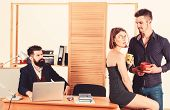 Woman Attractive Working Man Colleague. Office Romance Concept. Sexual Attraction Among Certain Cowo poster