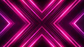 Dark Abstract Futuristic Background. Neon Lines, Glow. Neon Lines, Shapes. Pink Glow. Light Tunnel,  poster