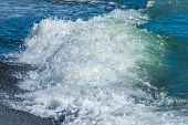 Blue Sea Wave With Splashes And Foam On The Beach. Peaceful Ocean Wave At Beach. Tropical Beach Reso poster