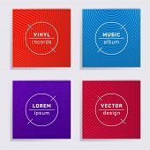 Digital Vinyl Records Music Album Covers Set. Halftone Lines Backgrounds. Dynamic Creative Vinyl Mus poster