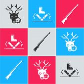 Set Hunt On Deer With Crosshairs, Trap Hunting And Hunting Gun Icon. Vector poster