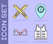 Set Hunting Jacket, Crossed Hunter Knife, Trap Hunting And Hunt Place Icon. Vector poster