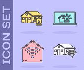Set Smart Home With Wi-fi, Smart House And Alarm, Smart Home With Wi-fi And Laptop With Smart House  poster