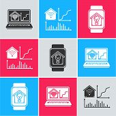 Set Laptop With Smart Home With Wi-fi, Smart Home With Wi-fi And Smart Watch With Smart House And Li poster