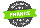France Sign. Welcome To France Green Sticker poster
