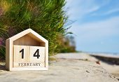 Happy Valentines Day, Valentines Day Background, Wooden Calendar On February 14 In Soft Focus Backgr poster