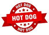 Hot Dog Ribbon. Hot Dog Round Red Sign. Hot Dog poster