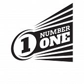 Number One Badge Logo Design. Black & White Colors. Graphic Sign. Number One Concept Vector Illustra poster