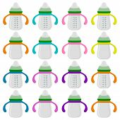 Illustration On Theme Big Colored Kit Baby Milk In Bottle With Rubber Pacifier. Baby Milk Bottle Con poster