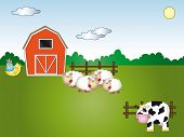 pic of the lost sheep  - illustration of farm cartoon with cow sheeps and chick - JPG