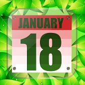 January 18 Icon. For Planning Important Day. Banner For Holidays And Special Days With Green Leaves. poster