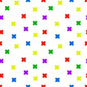 Seamless Pattern With Colored Crosses On A White Background. Childrens Theme. Textile Design. The P poster