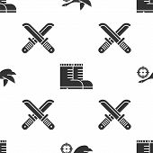 Set Hunt On Duck With Crosshairs, Hunter Boots And Crossed Hunter Knife On Seamless Pattern. Vector poster