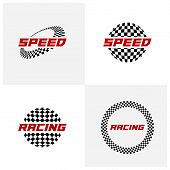 Set Of Race Flag Logo Icon, Racing Logo Concept, Modern Simple Design Illustration Vector Template, poster