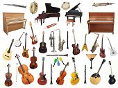 pic of banjo  - Different music instruments under the white background - JPG