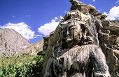 The Oldest Wooden Buddha Sculpture In Ladakh. People There In Northern Part Of India Are Followers O poster