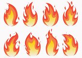 Fire Flames Set And Line Light Effect.  Fires Image, Hot Flaming Ignition, Flammable Blaze Heat Expl poster