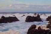 Lava Stones On The Beach Of Piscinas Naturais Biscoitos. Atlantic Ocean. Terceira Azores, Portugal. poster