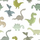 Cute Prehistoric Dinosaurs Vector Seamless Pattern. Color Illustrations Of Animals Of The Jurassic P poster