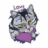 Cat Animal On Purple Heart, Love You Isolated Feline Pet Sketch. Vector Illustration Postcard Februa poster