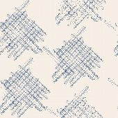 Indigo And White Vector Seamless Check Pattern. Allover Pattern. Ink Grunge Grid. Hand Drawn Seamles poster