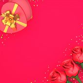 Happy Valentines Day, Valentines Day Background, Rose Flower Heart Shape Gift Box , Gold Confetti Gl poster