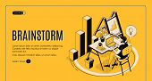 Brainstorm Isometric Landing Page. Man Sitting At Desk, Working On Laptop, Searching Idea. It Compan poster