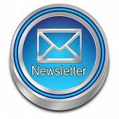 Glossy Blue Newsletter Button On White Background - 3d Illustration poster