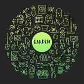 Gardening Vector Doodle Line Art Clip Art, Set Of Elements, Stickers, Icons. Isolated On Dark Backgr poster