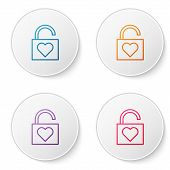 Color Line Lock And Heart Icon Isolated On White Background. Locked Heart. Love Symbol And Keyhole S poster