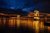 Night View Of Szechenyi Bridge. Famous Chain Bridge Of Budapest. Beautiful Lighting And Reflection I poster