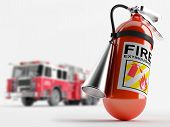 stock photo of fire-station  - Extinguisher on the background of a fire truck - JPG