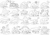 Cartoon Prehistoric Dinosaurs, Set Of Images, Coloring Book poster