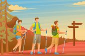Young People Actively Spend Holidays, Nordic Walking In The Woods. Flat 2d Character. Concept For We poster