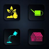 Set Farm House, Watering Plant, Watering Can With Water And Watering Can. Black Square Button. Vecto poster