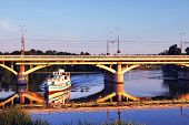 picture of vinnitsa  - Pleasure boat in Vinnitsa Ukraine on the river Southern Buh at sunset - JPG
