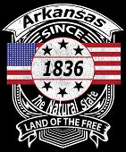 Arkansas Retro Grunge Typography Design With An American Flag Says Since 1836, Land Of The Free And  poster