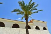 image of hacienda  - Beautiful Classical Mediterranean Hacienda Spanish style building with palm tree - JPG
