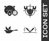 Set Trap Hunting, Hunt On Bear With Crosshairs, Flying Duck And Hunt On Moose With Crosshairs Icon.  poster